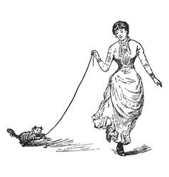 Woman walking and carrying cat with her vintage vector