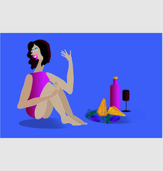 Women wine and cheese vector