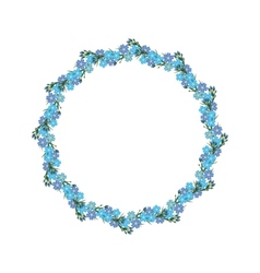 Wreath of forget-me-not template frame vector