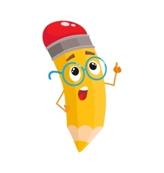 Yellow cartoon pencil in nerdy glasses telling vector