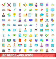 100 office work icons set cartoon style vector image