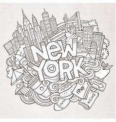cartoon cute doodles hand drawn new york vector image