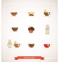 Colorful retro hipsters icons of coffee tea milk vector image
