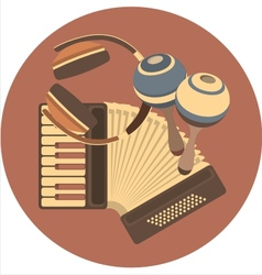 emblem retro music in the disc vector image vector image