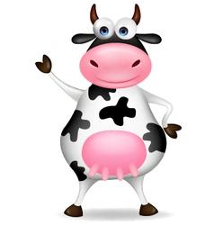 Funny cow waving vector image vector image