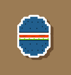 paper sticker on stylish background hamburger vector image