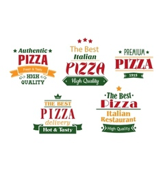 Pizza banners labels and signs vector image vector image