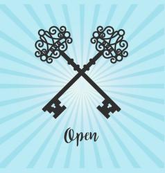 vintage crossed keys on blue background vector image vector image