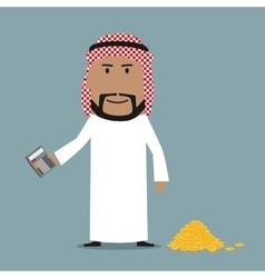 Happy arab businessman counting money vector image vector image