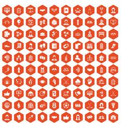 100 team icons hexagon orange vector image vector image