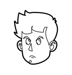 character face head boy angry outline vector image vector image