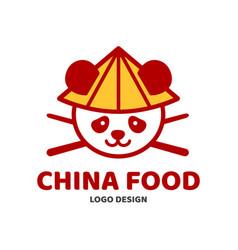 china food panda and chopsticks in hat vector image