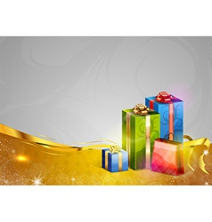 christmas background two color gold gifts vector image vector image