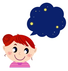 Little cute girl with dreaming bubble vector image