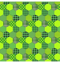 Seamless pattern patchwork green fabrics hexagon vector image vector image