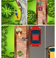 Top view scenes with people in the park and street vector image vector image