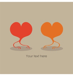Valentines Day gift card with two hearts vector image vector image