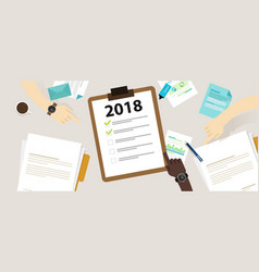 2018 new year resolution and target business check vector image vector image