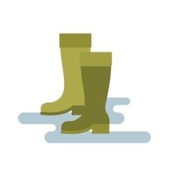 Green rubber rain boots green color vector image