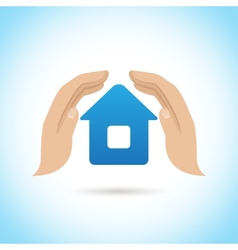 Hands hold home poster vector image vector image