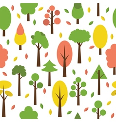 Seamless tree pattern in flat style Cute vector image vector image