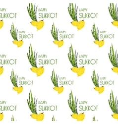 Sukkot pattern with Lulav Etrog Arava and Hadas vector image vector image