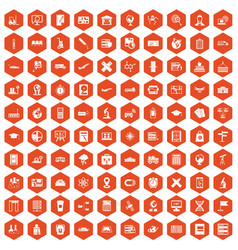 100 globe icons hexagon orange vector