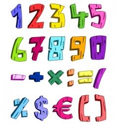 3d cartoon numbers vector