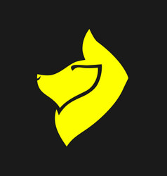 abstract yellow dog symbol icon vector image