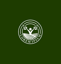 Agro business emblem logo template with farm field vector