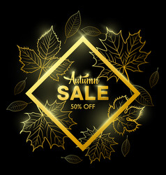 autumn sale banner with golden fall leaves vector image