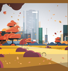 Autumn urban park city skyline with yellow leaves vector