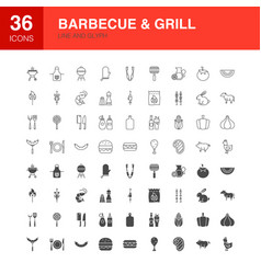 barbecue grill line web glyph icons vector image