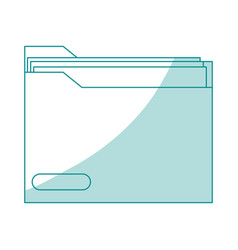 Blue silhouette shading folder with documents vector