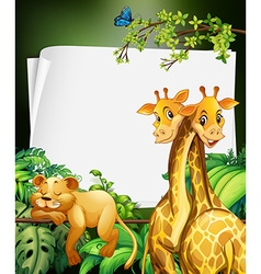 Border deisgn with giraffes and lion in the woods vector image
