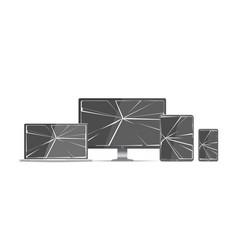 broken screen set vector image