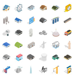 building icons set isometric style vector image