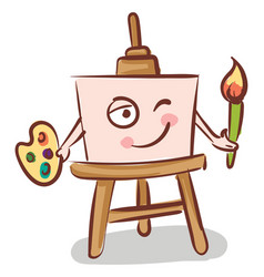canvas holding a brush on easel color on white vector image