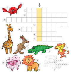 Cartoon crossword game with cute cartoon african vector
