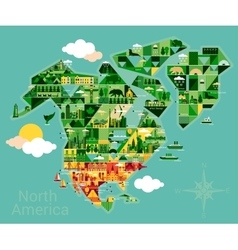 cartoon map north america vector image