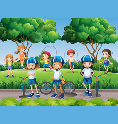 children exercising in the park vector image