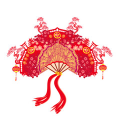 Chinese landscape and beautiful fan vector