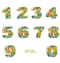 colored pixel geometric 3D numbers vector image