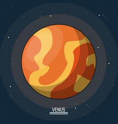 Colorful poster of the planet venus in the space vector
