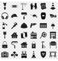 construction bulldozer icons set simple style vector image
