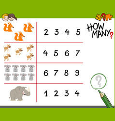 Counting activity with animals vector