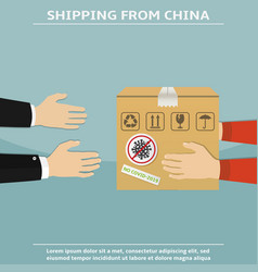courier gives a parcel from china vector image
