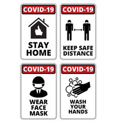 covid19-19 danger signs set vector image