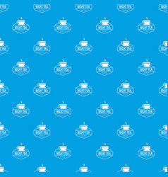 cup tea pattern seamless blue vector image