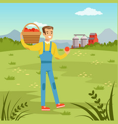 Farmers man holding basket with fresh harvest of vector